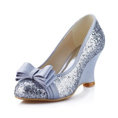 Women's Satin Sparkling Glitter Closed Toe Wedges With Bowknot
