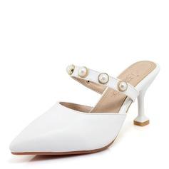 Femmes Suède PU Talon stiletto Sandales Escarpins avec Perle d'imitation chaussures