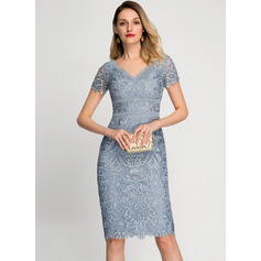Sheath/Column V-neck Knee-Length Lace Cocktail Dress (270236456)