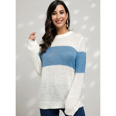 Color Block Cable-knit Chunky knit Polyester Round Neck Pullovers Sweaters (1002229596)