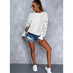 Round Neck Long Sleeves Regular Solid Casual Pullovers (1002265285)