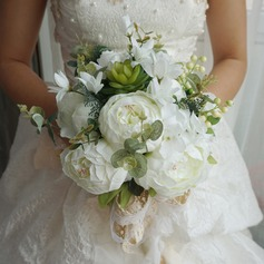Elegant Round Satin Bridal Bouquets (Sold in a single piece) - Bridal Bouquets (123169564)