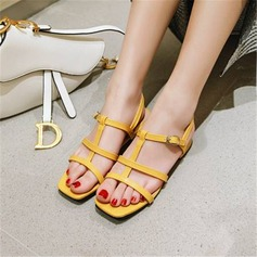Women's Leatherette Chunky Heel Sandals With Buckle shoes