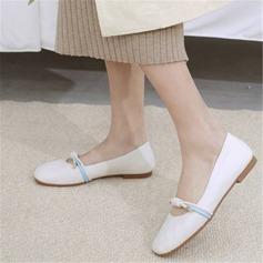Women's PU Flat Heel Flats Mary Jane أحذية