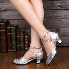 Women's Leatherette Pumps Ballroom With Ankle Strap Dance Shoes