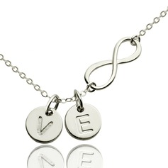 Personalized Ladies' Chic Gold Plated/Silver Plated With Round Engraved/Initial Necklaces For Bride/For Couple