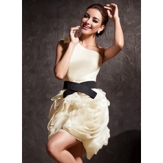 Sheath/Column One-Shoulder Short/Mini Organza Cocktail Dress With Ruffle Sash