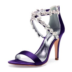 Women's Silk Like Satin Stiletto Heel Peep Toe Pumps Sandals With Rhinestone Pearl Zipper