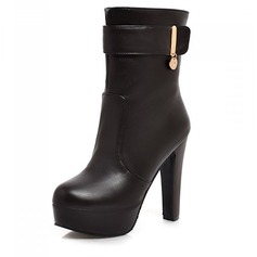 Women's Leatherette Chunky Heel Pumps Platform Closed Toe Boots Ankle Boots shoes