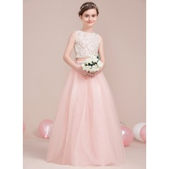 A-Line/Princess Scoop Neck Floor-Length Tulle Junior Bridesmaid Dress With Beading (009106853)