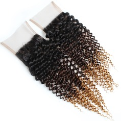 "5A 4""*4"" Curly Mid-Length Long Human Hair Closure (Sold in a single piece) 100g"