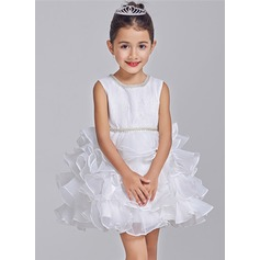 Ball Gown Short/Mini Flower Girl Dress - Tulle Sleeveless Scoop Neck With Beading