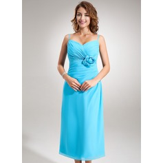 A-Line/Princess Sweetheart Tea-Length Chiffon Bridesmaid Dress With Ruffle Flower(s)