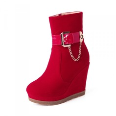 Women's Suede Wedge Heel Closed Toe Wedges Ankle Boots shoes