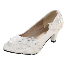 Women's Leatherette Patent Leather Closed Toe Pumps With Rhinestone Satin Flower