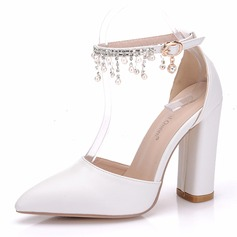 Women's Leatherette Kitten Heel Closed Toe Pumps With Tassel Crystal