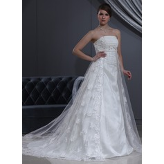 Empire Strapless Chapel Train Tulle Lace Wedding Dress With Beading