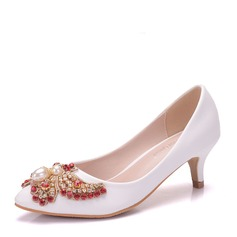 Women's Leatherette Kitten Heel Closed Toe Pumps With Imitation Pearl Rhinestone