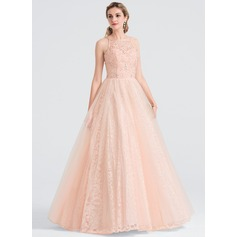 Ball-Gown Square Neckline Floor-Length Tulle Evening Dress With Beading Sequins