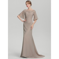 Trumpet/Mermaid Off-the-Shoulder Sweep Train Chiffon Mother of the Bride Dress With Ruffle Lace