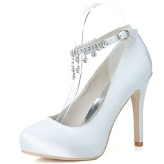 Women's Satin Stiletto Heel Closed Toe Pumps With Rhinestone Tassel