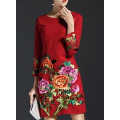 Cotton With Embroidery Above Knee Dress (199132144)