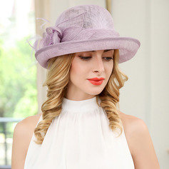 Ladies' Simple/Charming Cambric With Feather Beach/Sun Hats/Tea Party Hats