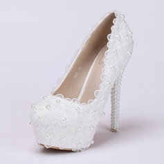 Women's Leatherette Stiletto Heel Platform Pumps With Flower Lace-up