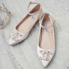 Women's Satin Flat Heel Closed Toe Flats With Pearl