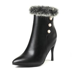 Women's PU Stiletto Heel Pumps Boots With Imitation Pearl Fur shoes