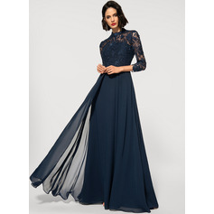 A-Line High Neck Floor-Length Chiffon Lace Evening Dress