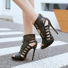 Women's Leatherette Stiletto Heel Sandals Pumps Platform Peep Toe Ankle Boots With Zipper Hollow-out shoes
