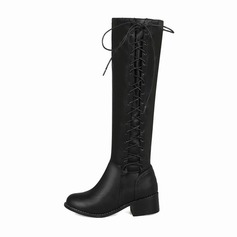 Women's Leatherette Low Heel Closed Toe Boots Knee High Boots With Lace-up Elastic Band shoes