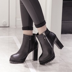 Women's PU Chunky Heel Pumps Platform Boots Ankle Boots With Zipper shoes
