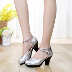 Women's Leatherette Pumps Swing With Ankle Strap Dance Shoes