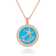Custom 18k Rose Gold Plated 3D Engraved Necklace Circle Necklace With Star - Birthday Gifts Mother's Day Gifts