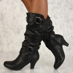 Women's Leatherette Chunky Heel Pumps Boots With Zipper shoes (088212900)