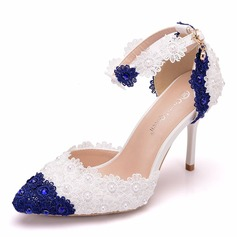 Women's Leatherette Stiletto Heel Closed Toe Pumps With Flower Tassel Applique