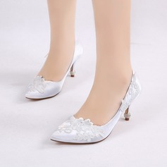 Women's Silk Like Satin Stiletto Heel Closed Toe Pumps With Buckle Applique