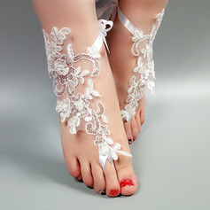 Women's Lace Peep Toe Sandals Beach Wedding Shoes With Stitching Lace Flower Applique