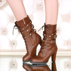 Women's Leatherette Chunky Heel Pumps Boots With Buckle Zipper shoes (088212906)