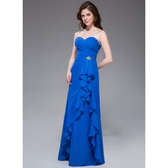 A-Line/Princess Sweetheart Floor-Length Chiffon Bridesmaid Dress With Beading Cascading Ruffles