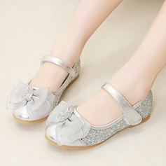 Girl's Closed Toe Mary Jane Sparkling Glitter Flower Girl Shoes With Bowknot Velcro