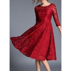 Polyester/Lace With Lace Knee Length Dress (199136785)