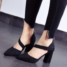 Women's Suede Chunky Heel Pumps Closed Toe shoes (085111614)