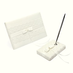 Elegant Rhinestones/Bow/Lace Guestbook & Pen Set