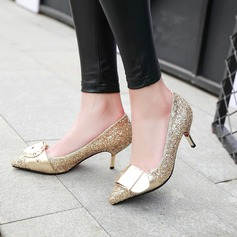 Women's Sparkling Glitter Stiletto Heel Pumps Closed Toe With Sparkling Glitter Buckle shoes (085126958)