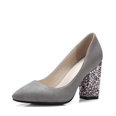 Women's Suede Chunky Heel Pumps Closed Toe With Sparkling Glitter shoes