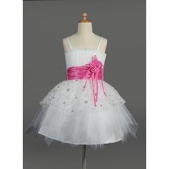 Corte imperial Hasta la rodilla Vestidos de Niña Florista - Tul/Charmeuse Sin mangas Escote ondulado con Fajas/Flores/Lentejuelas