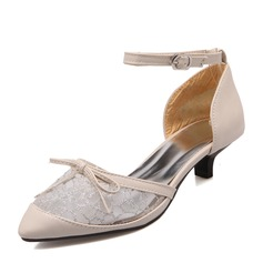 Women's Leatherette Stiletto Heel Closed Toe Pumps Sandals With Stitching Lace